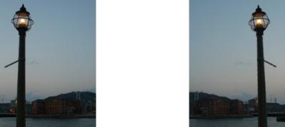 門司港 ガス灯 旧税関 ミラー法立体画像